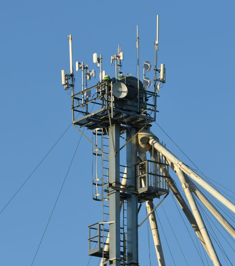 Equipment for wireless broadband is mounted atop a grain bucket elevator at Wade Farms in Clinton County, Mo.